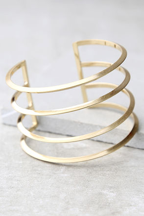 Taking a Chance Gold Cuff Bracelet at Lulus.com!