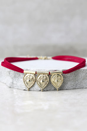 Fortunate One Gold and Red Choker Necklace at Lulus.com!