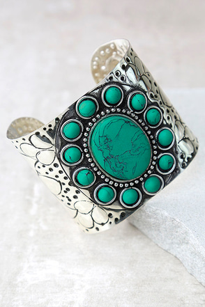 Traveled Far Turquoise and Silver Cuff Bracelet at Lulus.com!
