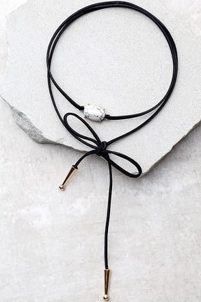 Aficionado Black and White Wrap Necklace at Lulus.com!