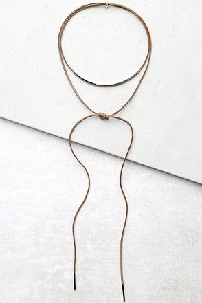 Style Inspiration Gold and Grey Layered Choker Necklace at Lulus.com!