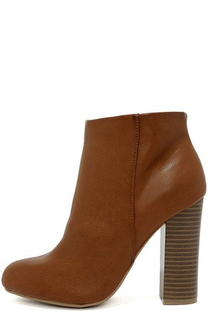 Molly Chestnut High Heel Ankle Booties 1