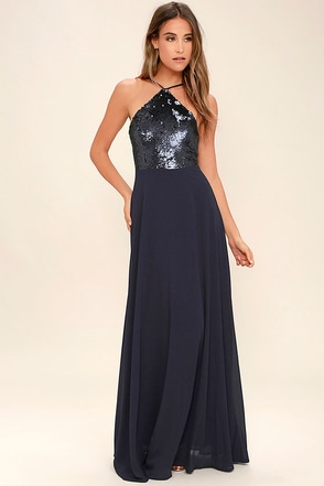 The Best Part Navy Blue Sequin Maxi Dress at Lulus.com!