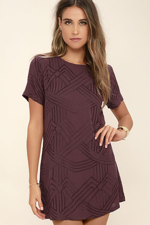 Lucy Love Charlotte Burgundy Embroidered Shift Dress at Lulus.com!