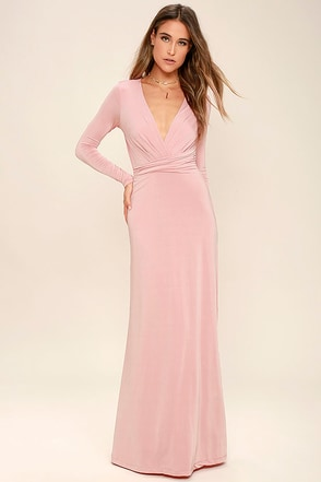 Chic-quinox Blush Pink Long Sleeve Maxi Dress at Lulus.com!