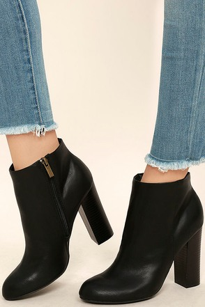 Molly Black High Heel Ankle Booties 1