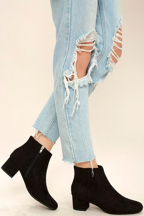 Melanie Black Suede Ankle Booties at Lulus.com!