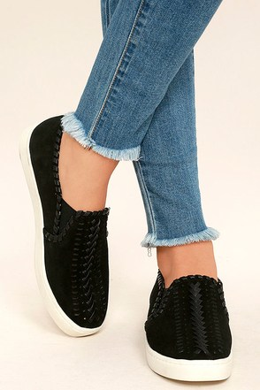 Report Asyun Black Suede Leather Slip-On Sneakers at Lulus.com!