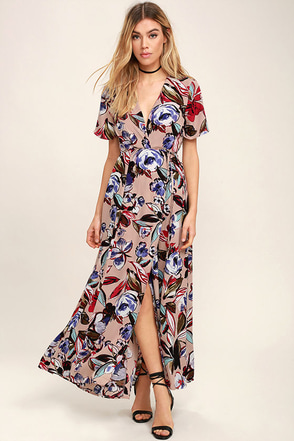 Tranquil Thoughts Blush Floral Print Wrap Dress at Lulus.com!