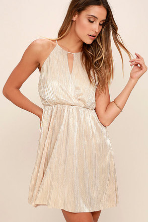 You Had Me At Halo Gold Dress at Lulus.com!