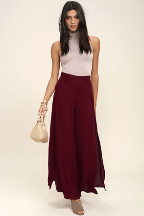 Falling in Love Again Wine Red Wide Leg Pants at Lulus.com!