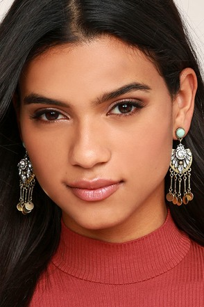 Lover of the Light Turquoise and Silver Rhinestone Earrings at Lulus.com!