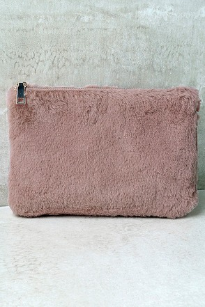 Fur-ever More Grey Faux Fur Clutch at Lulus.com!