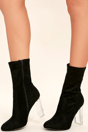 Krystal Black Suede Lucite Mid-Calf Boots at Lulus.com!