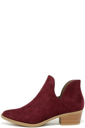 Maggie Vino Red Suede Cutout Ankle Booties at Lulus.com!