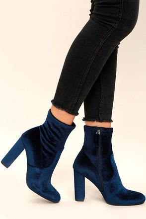Steve Madden Edit Navy Velvet High Heel Mid-Calf Boots at Lulus.com!