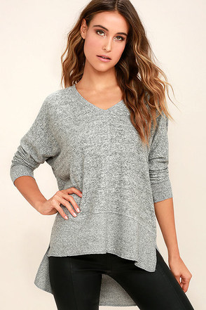 Love on the Brain Heather Grey Sweater Top at Lulus.com!