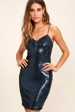 A Moment Like This Navy Blue Sequin Bodycon Dress at Lulus.com!