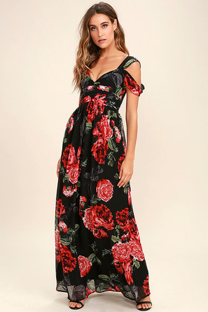 Take It From Here Black Floral Print Maxi Dress at Lulus.com!