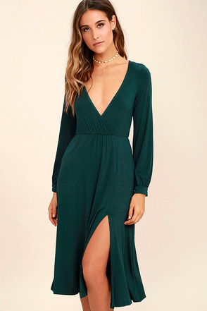 Right for Me Forest Green Long Sleeve Midi Dress at Lulus.com!