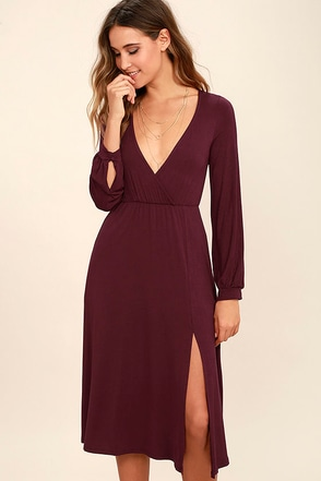 Right for Me Plum Purple Long Sleeve Midi Dress at Lulus.com!