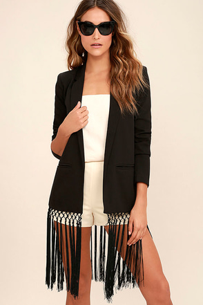 BB Dakota Aldred Black Fringe Blazer at Lulus.com!