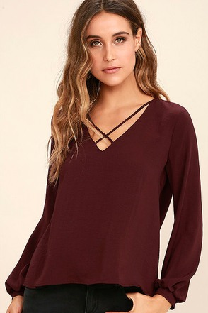 Big City Burgundy Long Sleeve Top at Lulus.com!