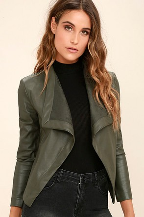 BB Dakota Peppin Olive Green Vegan Leather Jacket at Lulus.com!
