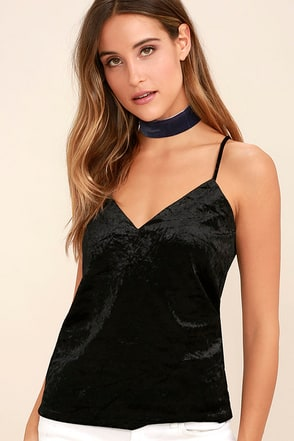 Pure Love Navy Blue Velvet Top at Lulus.com!