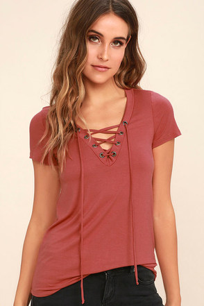 Enjoy the Ride Rusty Rose Lace-Up Top at Lulus.com!