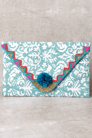 Bailando Turquoise Print Beaded Clutch at Lulus.com!