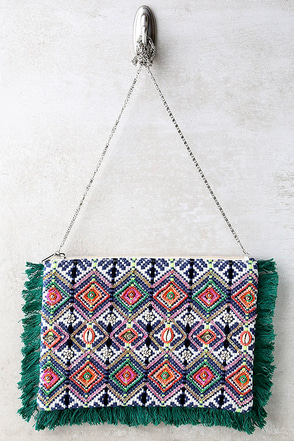 Away and Abroad Blue and Green Print Beaded Clutch at Lulus.com!