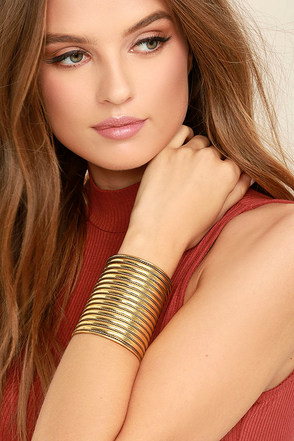 A Place In This World Gold Cuff Bracelet at Lulus.com!