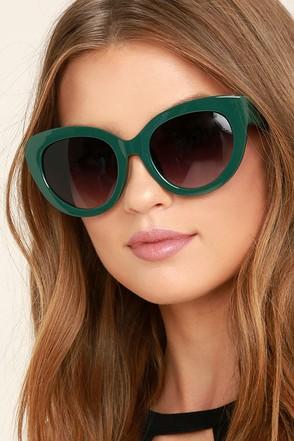 Perverse Dahlia Dark Green Cat-Eye Sunglasses 1