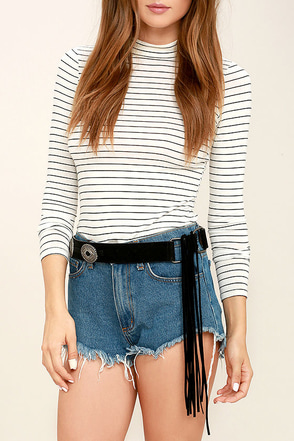 Tundra Silver and Tan Fringe Belt at Lulus.com!