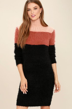 Mink Pink Snuggle Black Color Block Sweater Dress at Lulus.com!