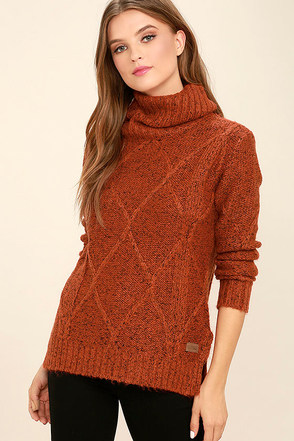 Element Eden York Rust Orange Turtleneck Sweater at Lulus.com!