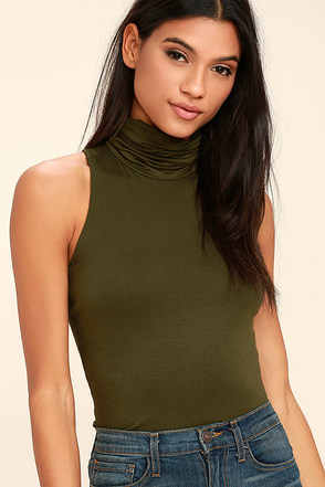 Alive and Kicking Olive Green Sleeveless Turtleneck Top at Lulus.com!