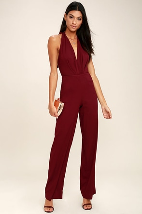Can't Hardly Wait Burgundy Halter Jumpsuit at Lulus.com!