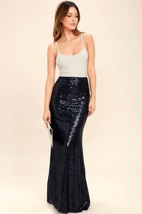 Effervescent Evening Navy Blue Sequin Maxi Skirt 1