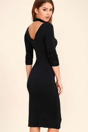 Obey Zoey Black Bodycon Midi Dress at Lulus.com!