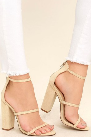 Lovely Nude Suede Heels Ankle Strap Heels Block Heels