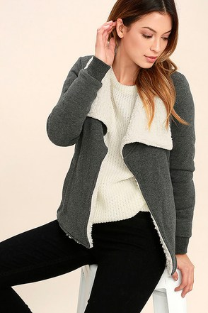 Element Eden Cozee Heather Grey Faux Shearling Jacket at Lulus.com!