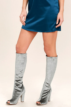 Jacqui Grey Velvet Peep-Toe Knee High Boots at Lulus.com!