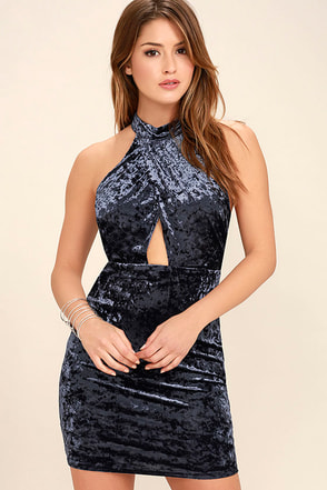 Melody and Desire Navy Blue Velvet Bodycon Dress at Lulus.com!
