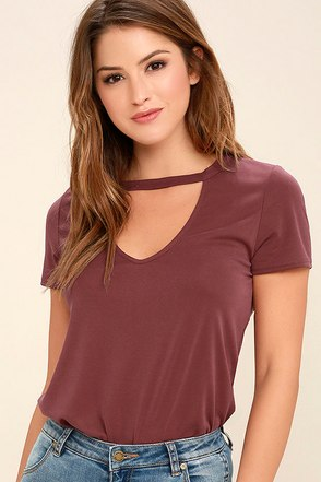 Once in a Wild Washed Burgundy Top at Lulus.com!