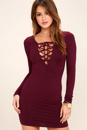 Laced Up All Night Plum Purple Lace-Up Dress at Lulus.com!