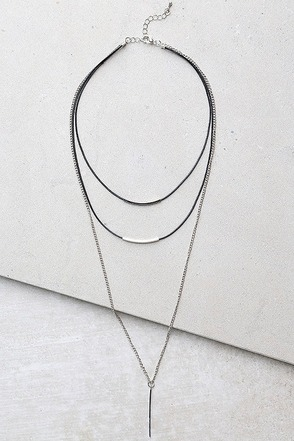 Moment of Glory Black and Silver Layered Necklace at Lulus.com!