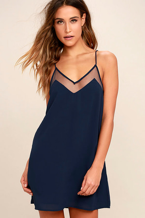 Go for Bold Navy Blue Slip Dress at Lulus.com!