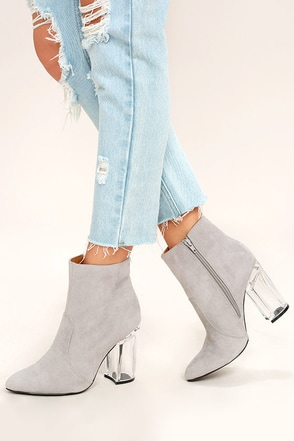 Illuminate Light Grey Suede Lucite Ankle Booties at Lulus.com!